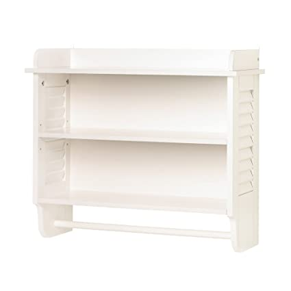 Gifts U0026 Decor Nantucket Home White Bathroom Wall Shelf Towel Holder