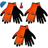 Ice Gripster 378INT Thermal Hi-Vis Orange/Black Cold Condition Work Gloves, Sizes S-XL (3 Pair) (Large)