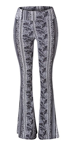 (SATINA High Waisted Flare Palazzo Wide Leg Pants | Printed & Solid | Reg & Plus (XX-Large, Leafy Black))