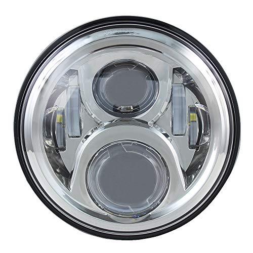 High Brightest 7 LED Headlight For Motorcycle Projector LED Light Bulb For Jeep Wrangler JK LJ CJ Headlamp (Chrome)