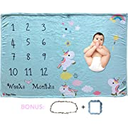 Happy Palace Adorable Blue Weekly Or Monthly Newborn Milestone Baby Blanket, Perfect Photography Background Prop Set for Boys and Girls, Awesome for Baby Showers, 60 x40