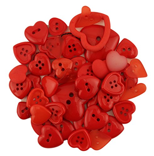 lue Pack Red Hearts Button ()