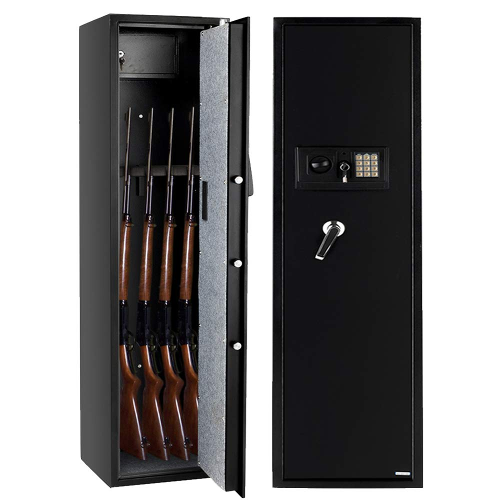 Bonnlo Electronic Gun Safe Large Firearm Rifle Storage Cabinet Quick Access 5 Gun Rifle Safe Cabinet with Small Lock Box for Handguns Ammo┃Upgraded Package Box by Bonnlo