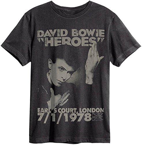 Amplified - David Bowie Herren T-Shirt - Hereos 78 grau (S-XL) (Small)