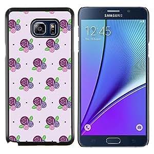 KLONGSHOP // Cubierta de piel con cierre a presión Shell trasero duro de goma Protección Caso - floral patrón rosa púrpura - Samsung Galaxy Note 5 5th N9200 //