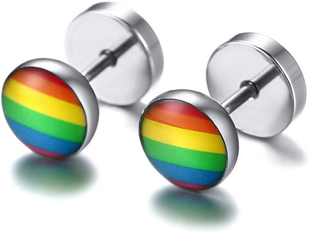 djryj Merveilleux Arc-en-Ciel Clou Acier Inoxydable Rond R/ésine Boucles doreilles Lesbienne Gay Pride Boucle doreille Unisexe