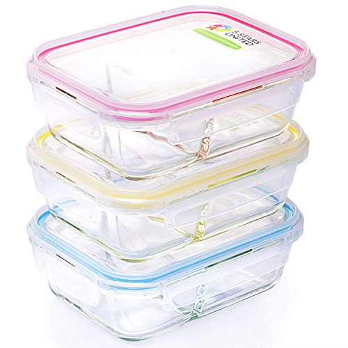 Glass Food Storage 2-Compartment Containers - Divided Meal Prep Lunch Boxes - 3-Pack - Microwave, Freezer, Dishwasher Safe - Airtight Lids, Portion Control Set, 3 x 32 Oz -