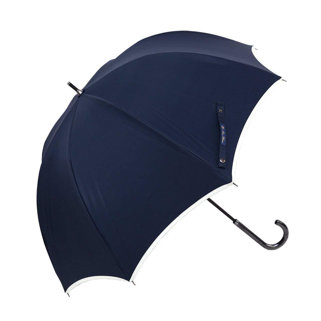 【Rose Blanc】100%完全遮光 晴雨兼用 涼感 パイピング ラージサイズ 60cm (ネイビー×アイボリー) B07PLSXGQL ネイビー×アイボリー