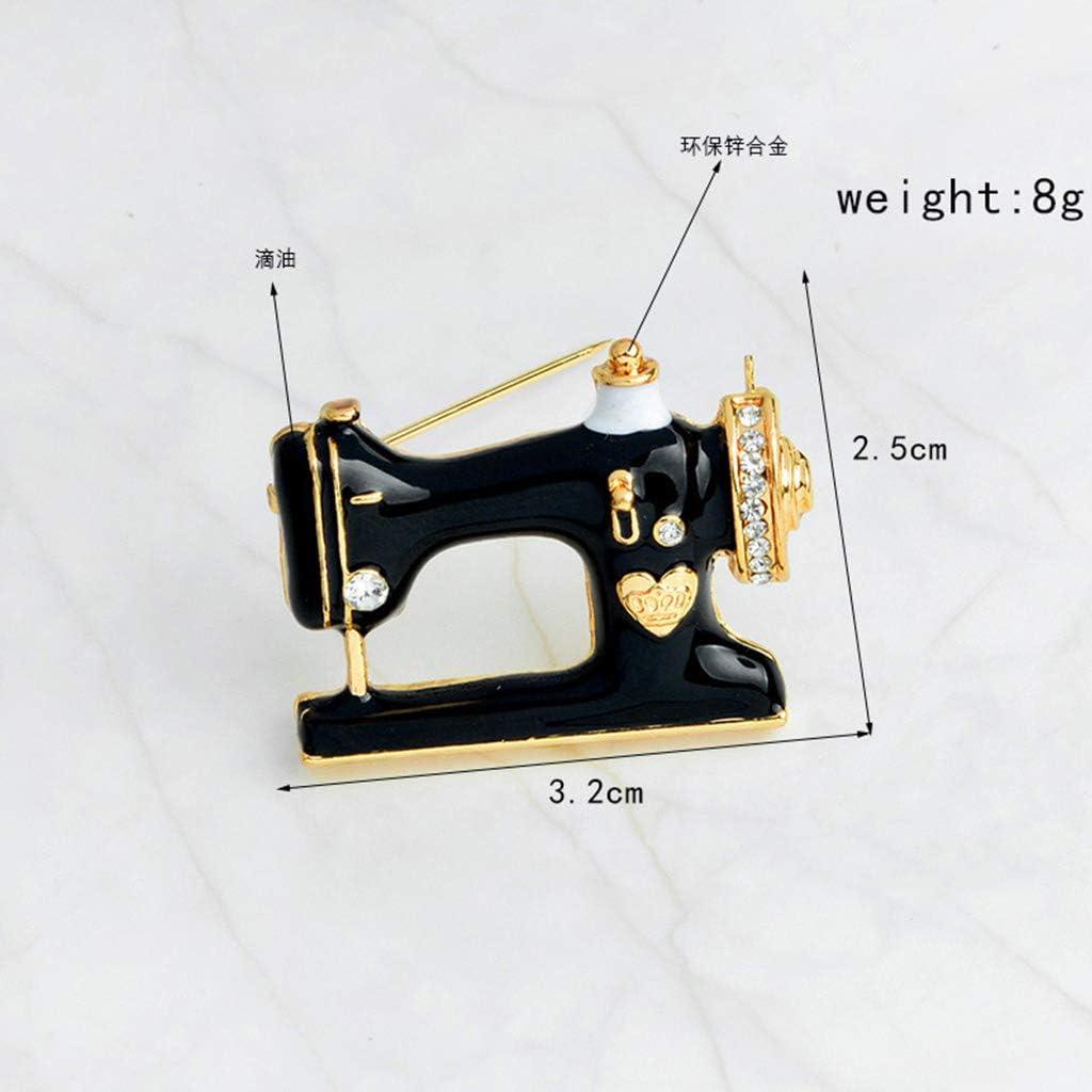 Mimgo - Broche para máquina de Coser, Moderno, de Metal, Color Negro, para Mujeres y niñas: Amazon.es: Joyería