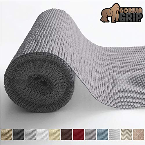 (Gorilla Grip Original Drawer and Shelf Liner, Non Adhesive Roll, 12 Inch x 20 FT, Durable and Strong, for Drawers, Shelves, Cabinets, Storage, Kitchen and Desks, Gray)