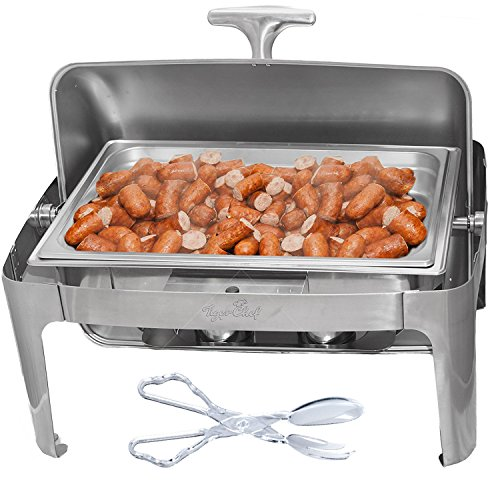 Tiger Chef Stainless Steel Chafer with Roll Top, 8 Quart Chafing Dish Set with Plastic Serving (Roll Top Lid)