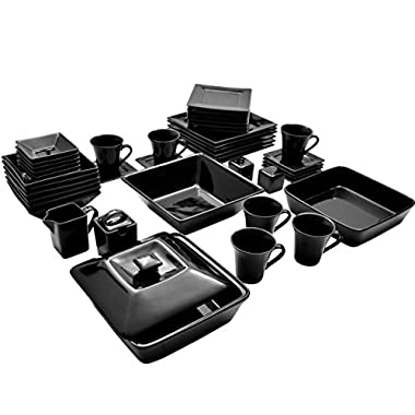 10 Strawberry Street NOVA-45SQ-BLK-BB 45 Piece Nova Square Dinner Set, Black