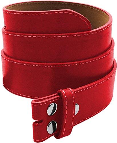LUNA Premium Basic Genuine Leather Stitching Belt Strap - Red - - Red Genuine Belt