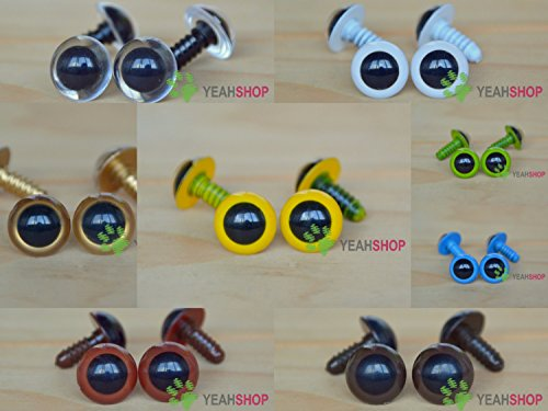 15mm Colorful Safety Eyes Plastic Doll Eyes - Clear/White/Golden/Yellow/Grass Green/Blue/Brown/Coffee - 1 Pair of Each Color