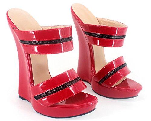 Rosso Appr Women 7 Zeppa Sandals Heel Appr Wedge Fetish On Red Slip Fetish Donne 7 Sexy Brevetto Scivolare Sandali Sul Patent Platform Sexy rUvwr5