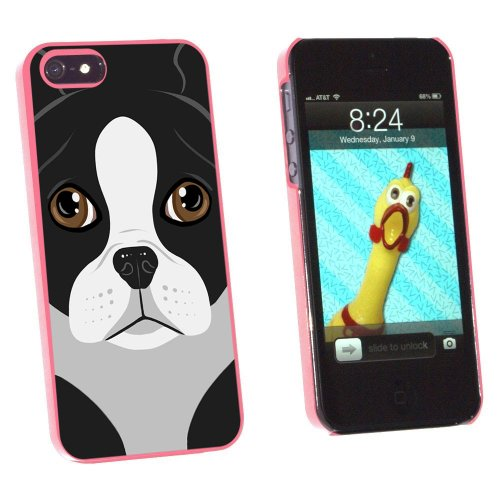 Graphics and More Boston Terrier Dog Pet Snap-On Hard Protective Case for Apple iPhone 5/5s - Non-Retail Packaging - Pink