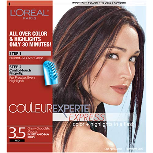 - L'Oreal Paris Couleur Experte Color + Highlights in a Flash, Darkest Mahogany Brown - Chocolate Mousse, 1 kit