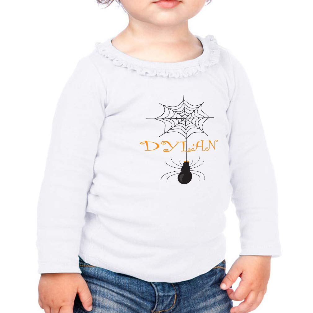 Personalized Custom Black Web Cotton Toddler Long Sleeve Ruffle Shirt Top