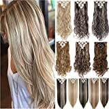 S-noilite Newest Binary Colour 8PCS/SET Full Head Hair Extensions Real Natural Thick as