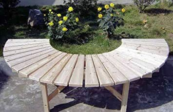 Incredible Half Circular Cedar Wood Tree Bench 39L X 78 W X 18H Squirreltailoven Fun Painted Chair Ideas Images Squirreltailovenorg