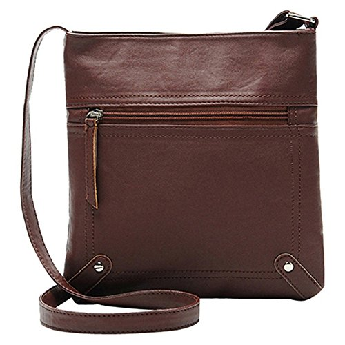 Messgaer Brown Solid Leather Casual Body Softmusic Bag Faux Women's Color Dark Shoulder Cross Bag 6wUxaqpv