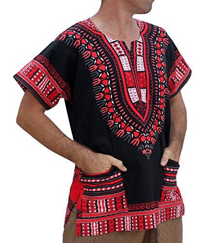 RaanPahMuang Brand Unisex Bright African Black Dashiki Cotton Shirt, X-Large, Orange Red on Black