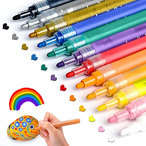 (Acrylic Paint Pens for Rocks Painting, Ceramic, Glass, Wood, Fabric, Canvas, Mugs, DIY Craft Making Supplies, Scrapbooking Craft, Card Making. Acrylic Paint Marker Pens Permanent.12)