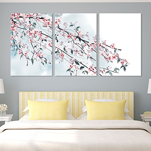 wall26 - 3 Panel Canvas Wall Art - Ink Painting Style Pink Cherry Blossom on the Branch - Giclee Print Gallery Wrap Modern Home Decor Ready to Hang - 16