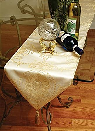 Violet Linen Prestige Damask Table Runner 13 x 70 Burgundy PRSTG DMSK G