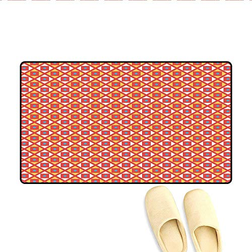 - Bath Mat Checked Pattern with Dots in Squares Diagonal Geometrical Retro Style Floor Mat Pattern Marigold Scarlet Sky Blue 32