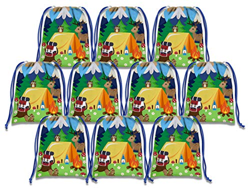 Camping Adventure Drawstring Bags Kids Birthday Party Supplies Favor Bags 10 Pack