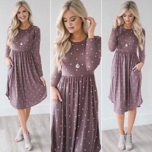 Dress ECOWISH Dresses Womens Midi with Sleeve Short Pockets Summer Vintage Floral Retro Purple Elastic 085 Waist UUg5xrP