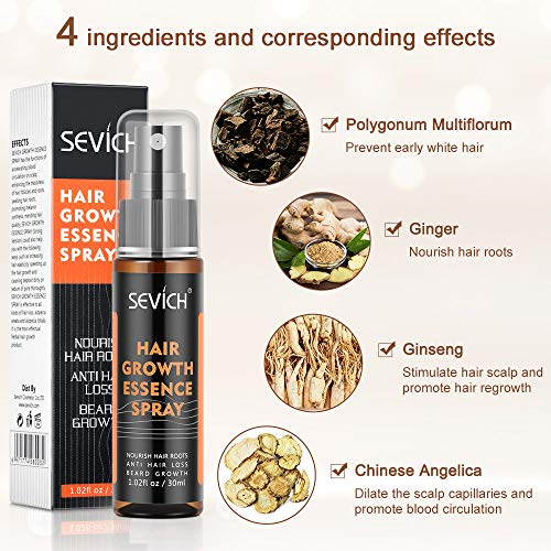 Hair Grow Spray, Anti Hair Loss, Thinning, Balding, Natural Ingredients Hair Regrowth Treatment for Stronger, Thicker, Longer Hair Grow,Repair Hair Follicles, All Hair Types, Men and Women