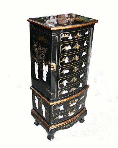 - Chinese Arts, Inc Black Lacquer Wooden Jewelry Cabinet Model 10369-BK
