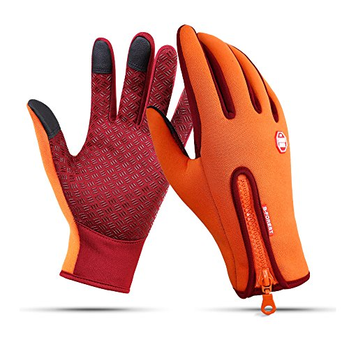 Winter Gloves Touch Screen Warm Gloves Cold Weather Windproof Cycling Driving Riding Bike Telefingers Thermal Gloves Non-slip Silicone Gel Adjustable Full Finger Mittens for Men and Women (Orange, L) ()