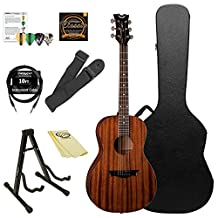 Dean Guitars Parlor Mahogany 6-String Acoustic Guitar Kit with ChromaCast Accessories, Satin Natural