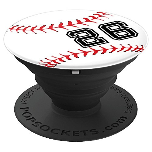 Baseball Player #26 Back No 26 Baseball Pit Gadget Gift - PopSockets Grip and Stand for Phones and Tablets