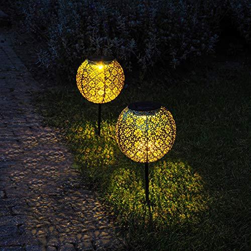 Gadgy Solar Tuinpad Verlichting Buiten | Set van 2 | Led Terras- en Tuinverlichting op Zonne-energie | Tuinprikker Goud…
