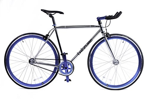 4130 Chromoly Fixed Gear/Single Speed/Fixie Bike Lightweight with Flip Flop Hub (BLUE, (Single Speed Flip Flop Hub)