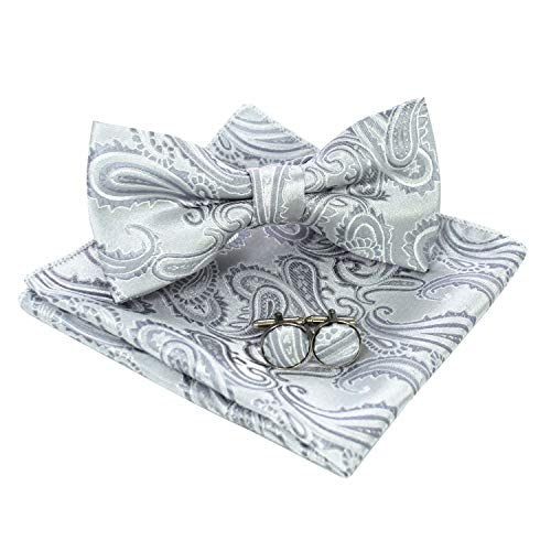 JEMYGINS Mens Silver White Paisley Bow Tie and Pocket Square With Cufflinks Set(4)]()