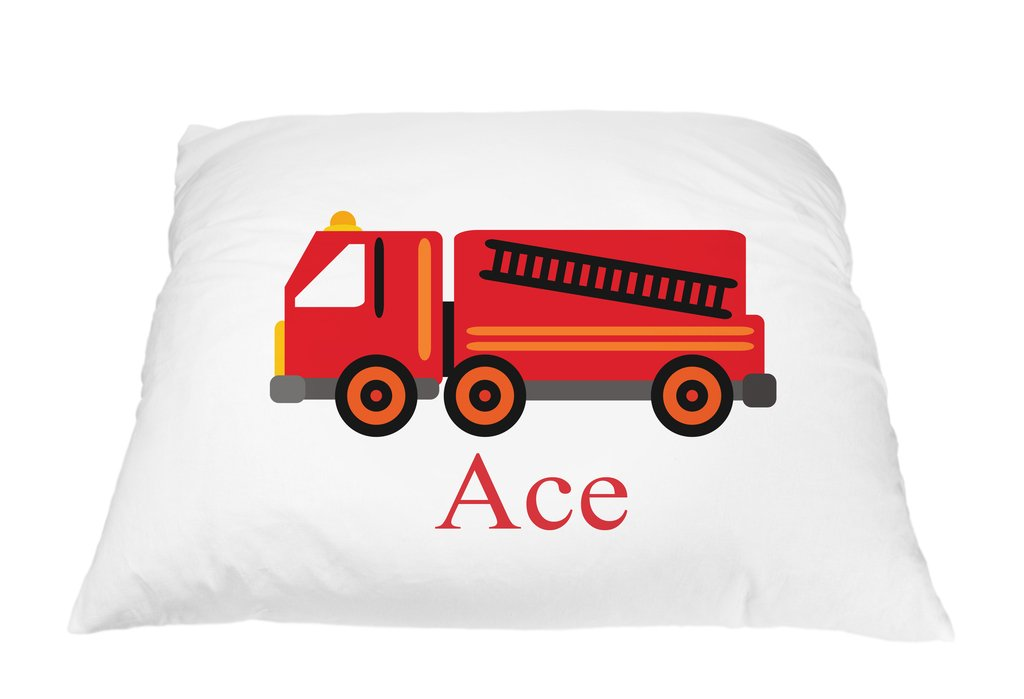 Personalized Red Firetruck Pillowcase Microfiber Polyester Standard 20 by 30 Inches, Fire Truck Toy Design, Custom Pillowcase for Kids, Fire Truck Decor, Pillow Covers for Allergies, Firefighter Gift