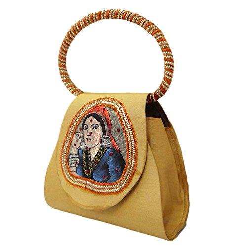 Bolsa Hecha A Mano Tradicional Potli Beige Mezcla De Seda India Embrague Mujeres Bolso Beige