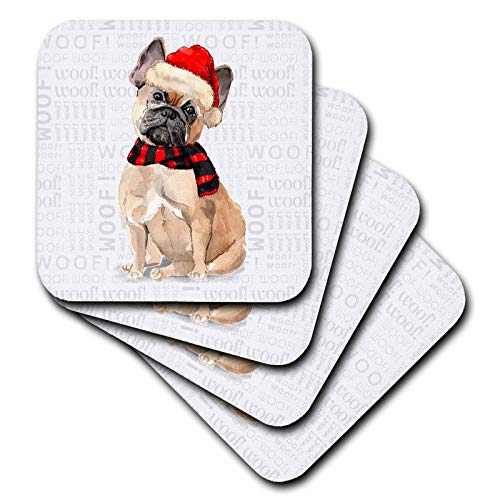 3dRose Doreen Erhardt Christmas Collection - A Brown French Bulldog in a Red Santa Hat and Striped Christmas Scarf - set of 8 Coasters - Soft (cst_299894_2)