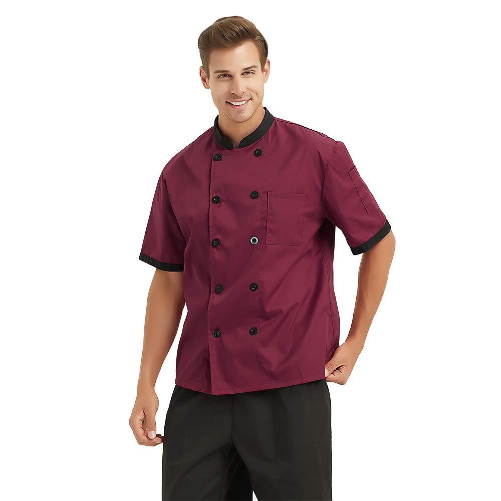 TopTie Short Sleeve Chef Jacket Kitchen Cook Coat Stripe Uniforms CHIX-DK61110