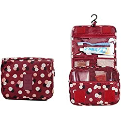 ITraveller Portable Hanging Toiletry Bag / Travel Organizer Cosmetic for Women Makeup or Men Shaving Kit with Hanging Hook for Vacation, Wine Red Daisy