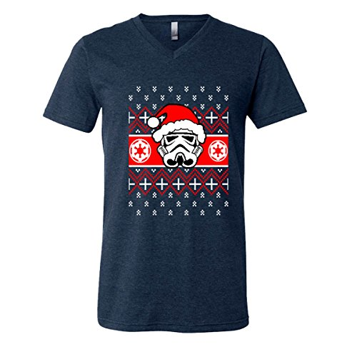 Merry Christmas Stormtrooper Men V-Neck T-Shirt Santa Claus Holidays Tree Ugly (Heather (Authentic Stormtrooper Outfit)