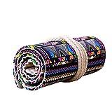 72 Holes Ethnic Canvas Wrap Roll up Pencil Case Pen Bag Holder Storage