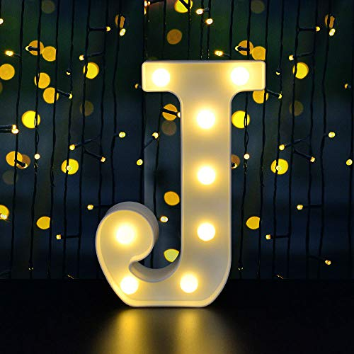 Dream Master Neon Light Sign LED Marquee Letter Lights Sign Light Up Alphabet Letter for Home Party Wedding Decoration White J