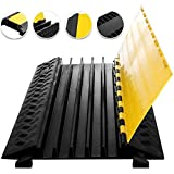 Happybuy 5 Channel Cable Protectors Extreme Rubber Cable Ramps Heavy Duty Protective Cable Wire Cord Ramp Driveway Rubber Traffic Speed Bumps Cable Protector (5-Channel, 1Pack-18000Lb)