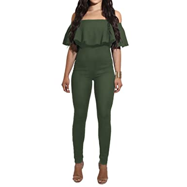 931859889667 Bodycon4U Women s Sexy Ruffled Off Shoulder High Waist Bodycon Jumpsuits  Rompers Pants Playsuit